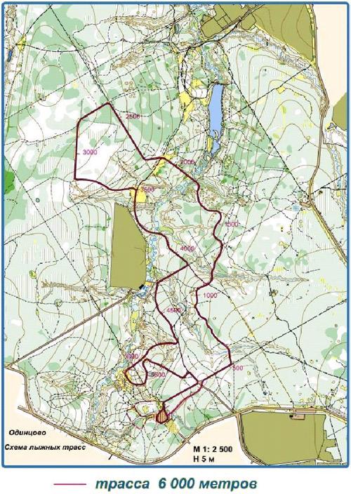 Карта Одинцовской лыжероллерной трассы