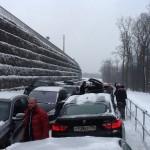 Автомобильные пробки на Одинцовской лыжероллерной трассе