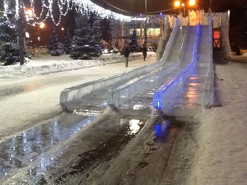Ледяная горка в центре Одинцово грозит разрушиться